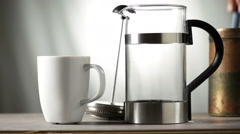 French press coffee maker Stock Footage