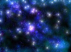 Frosty starry sky with shining stars in the luminous blue haze - stock illustration