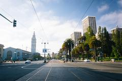 Tracks and Embarcadero Street, in San Francisco, California. Stock Photos