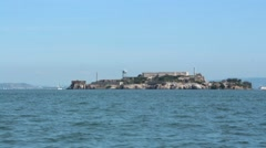 Alcatraz Federal Penitentiary from a boat Stock Footage