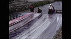 People Washing Fabric in River in Kyoto 1954 Stock Footage