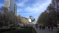 View of the Millennium Park & Pritzker Pavilion in Chicago Stock Footage