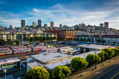 View of the skyline from a parking garage at the Embarcadero in San Francisco Stock Photos