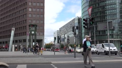 ULTRA HD 4K Traffic car pedestrian people travel Berlin business center day icon Stock Footage