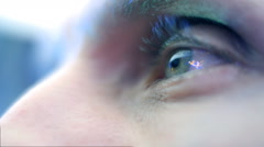 Reflection in the eye of the monitor when watching clouds in the sky. Closeup - stock footage