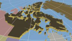 Nunavut - Canada territory extruded. Solids. Stock Footage