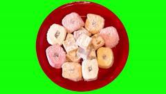4k oriental sweeties on plate Stock Footage
