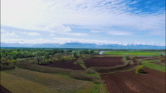 Scenic view of beautiful nature of countryside under cloudy sky, Georgia, Guria Stock Footage