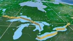 Ontario - Canada province extruded. Bumps shaded. Stock Footage