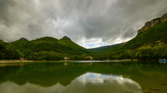 Cloudy autumn day on the mountain lake Mangup in Crimea. Time lapse. Stock Footage