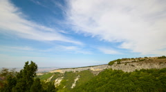 Sunny autumn day on the mountain plateau Mangup in Crimea. Time lapse. Stock Footage