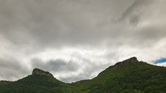 Cloudy autumn day on the mountain plateau Mangup in Crimea. Time lapse. Stock Footage