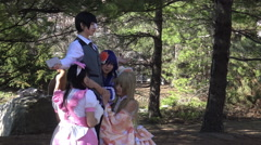 Cosplay Toronto meetup/gathering in a park on a spring day 2015. Stock Footage