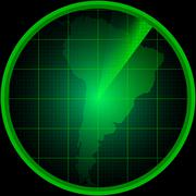 Radar screen with a silhouette of South America - stock illustration