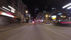 Driving through Denver at night hyper lapse - stock footage