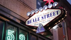 Memphis Beale Street Sign Stock Footage