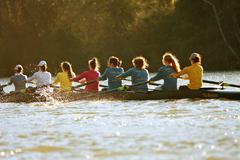 Women's College Crew Team Rows On Atlanta River - stock photo