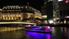 Quay Singapore River in Singapore in the evening Stock Footage
