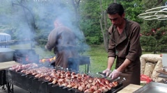 Cooking barbecue at picnic Stock Footage