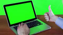 Man Working At A Computer With A Green Screen - stock footage