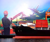 Stock Photo of manager working in ship port and air plane cargo logistic use as import expor