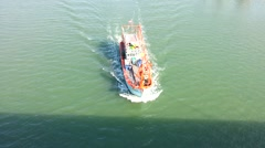 Fishing boat running on the sea Stock Footage