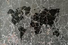 Polished bare concrete wall texture background with world map Stock Illustration