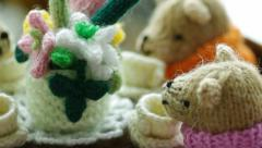 Knitted tea party. Stock Footage