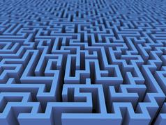 3d labyrinth maze challenge - stock illustration