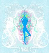 Woman in a traditional yoga pose illustration Piirros
