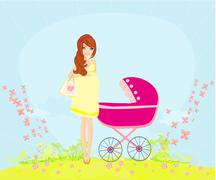 Beautiful pregnant woman pushing a stroller Piirros