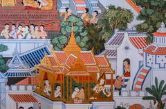Native Thai mural painting Stock Photos