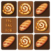 Tic-Tac-Toe of bread and cinnamon roll - stock illustration