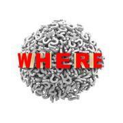 3d where question mark sphere ball - stock illustration