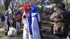 Cosplay Toronto meetup/gathering in a park on a spring day 2015. - stock footage
