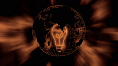 The earth and a warm light bulb - stock footage