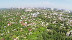 City panorama with  wood and houses. Aerial, Kiev, Ukraine Stock Footage