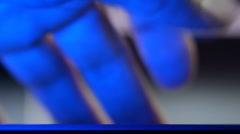 Hacker run the spy program. The virus code scroll on the screen - stock footage
