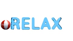 "Word ""RELAX"" wavy isolated on the white background. Red and white ball. - stock footage"