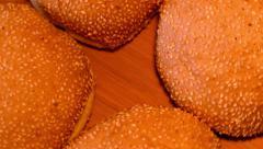 4k hamburger buns (close up) Stock Footage