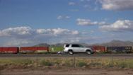 Stock Video Footage of 4K Cars Trucks Train Transportation Scenic