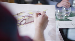 4K Creative automotive design team brainstorming for ideas in planning meeting - stock footage