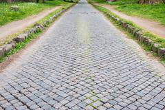 Ancient Appian way in Rome old town, Italy Stock Photos