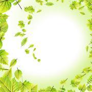 Stock Illustration of Green leaves frame isolated on white. EPS 10