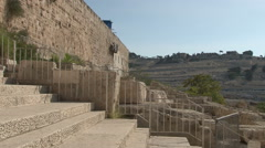 Mount of Olives aka Mount Olivet cemetery from Jerusalem Old City Walls Stock Footage