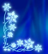 Magic snow tree with snowflakes instead of leaves on a dark blue sparkling Stock Illustration