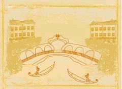 Venetian gondola. retro style card illustration. - stock illustration