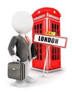3d white people businessman in London - stock illustration