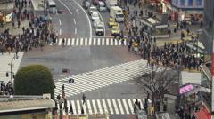Time Lapse of Shibuya Crosswalk Daytime in Tokyo, Japan -Tilt Down- Stock Footage