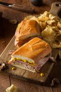 Homemade Traditional Cuban Sandwiches - stock photo
